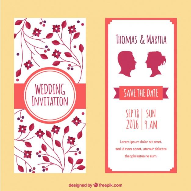 Bonitas invitaciones de boda floral y con siluetas