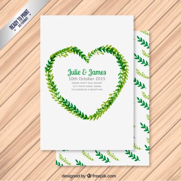 Invitación de boda con las hojas en forma de corazón