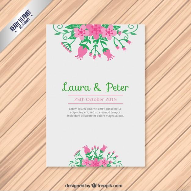 Invitación de boda con ramo de flores