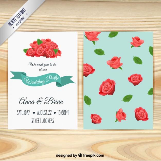 Invitación de boda con rosas dibujadas a mano