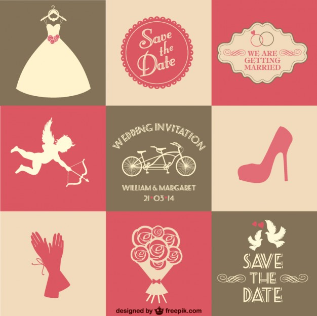Invitación de boda de 9 piezas, vectores gratis