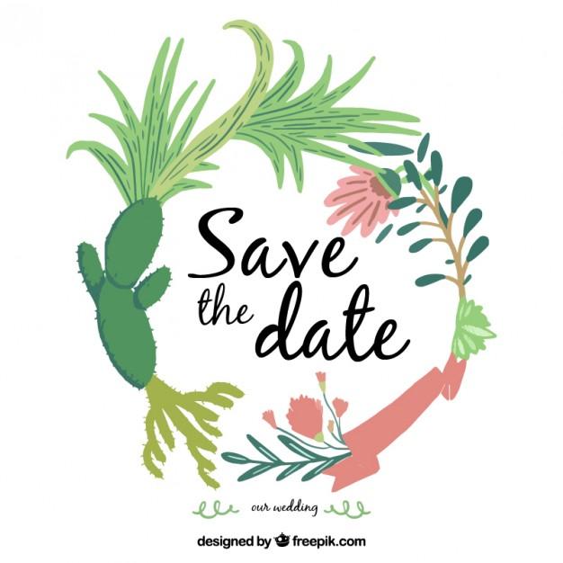 Invitación de boda de un cactus