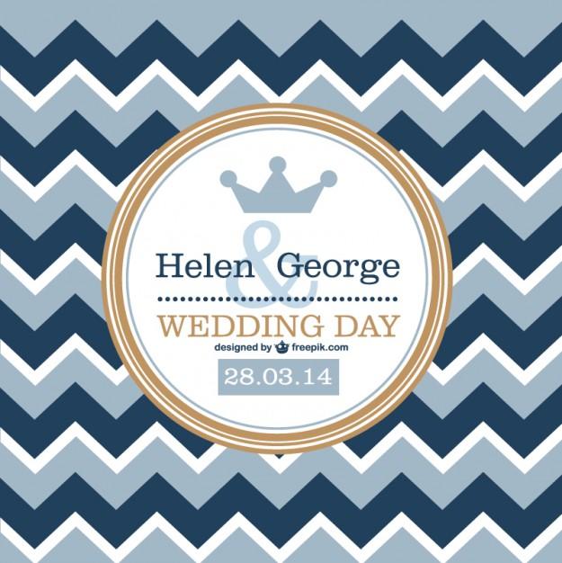 Invitación de boda retro con patrón en zig zag