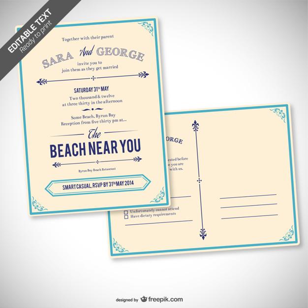 Invitación de boda retro editable