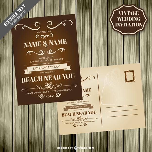 Invitación de boda vintage con textura de madera