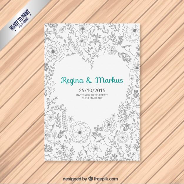 Invitación de la boda floral con el corazón