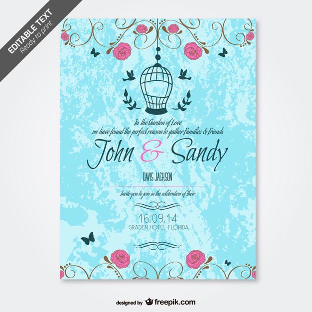 Invitación floral de boda grunge