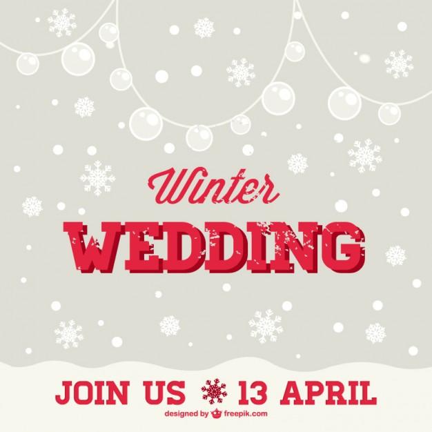 Invitación para boda en invierno