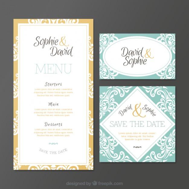 Invitaciones de boda ornamental de estilo vintage