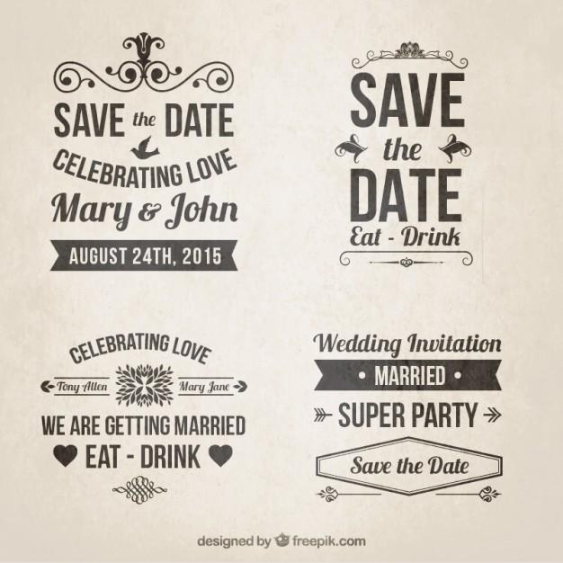 Invitaciones de boda retro en estilo de letras for Estilos de letras