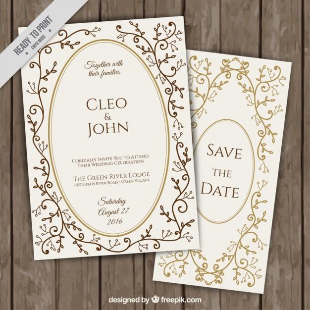 f8d9c10ef62bb Invitaciones elegantes floral dorada ✨ Invitaciones de boda gratis