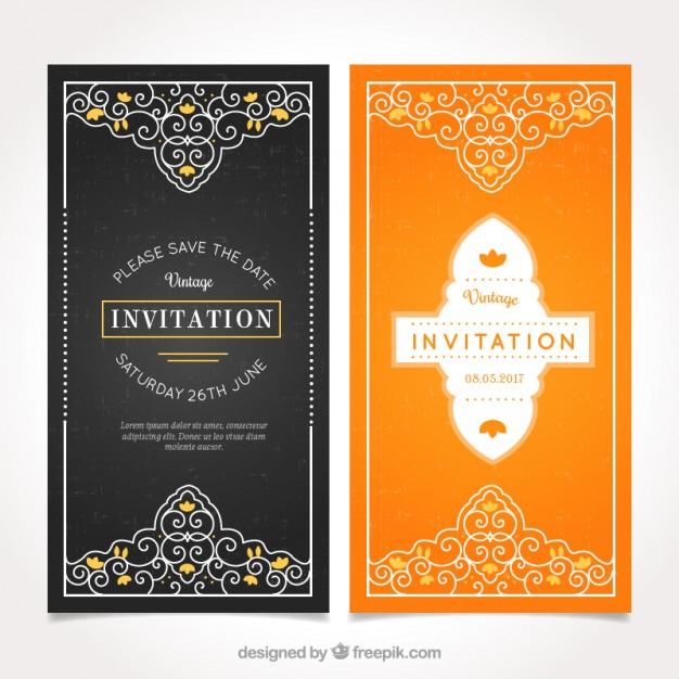 Invitaciones vintage con ornamentos