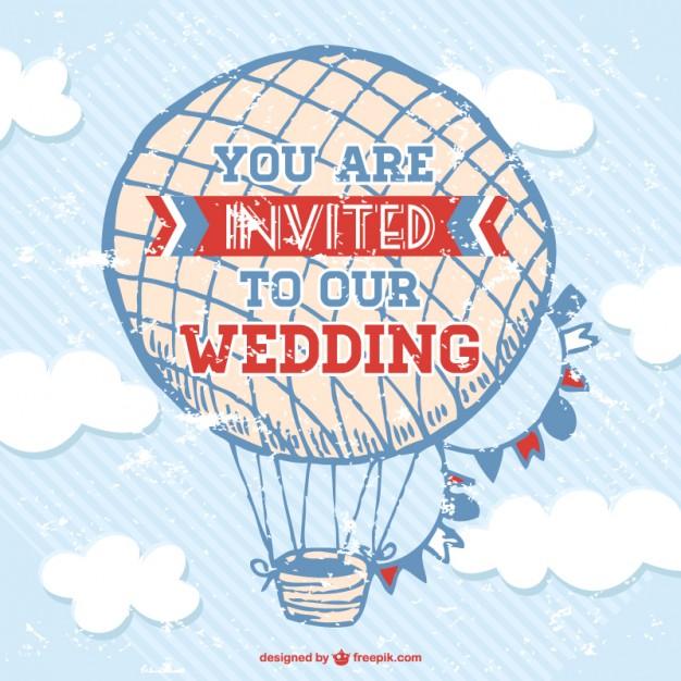 Tarjeta de boda con globo aerostático