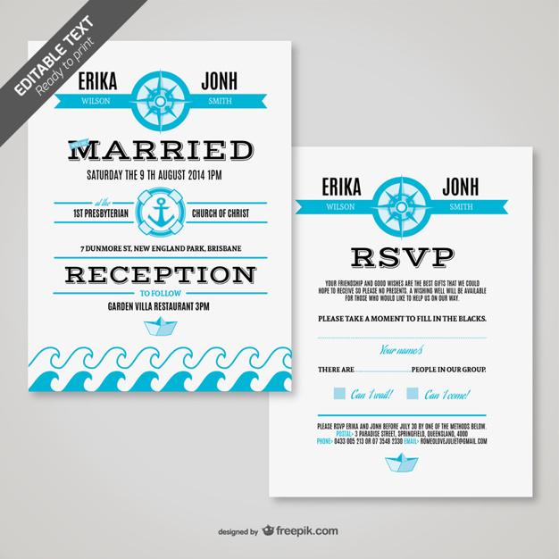Tarjeta de boda retro