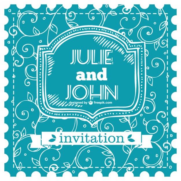 Tarjeta de boda vintage azul