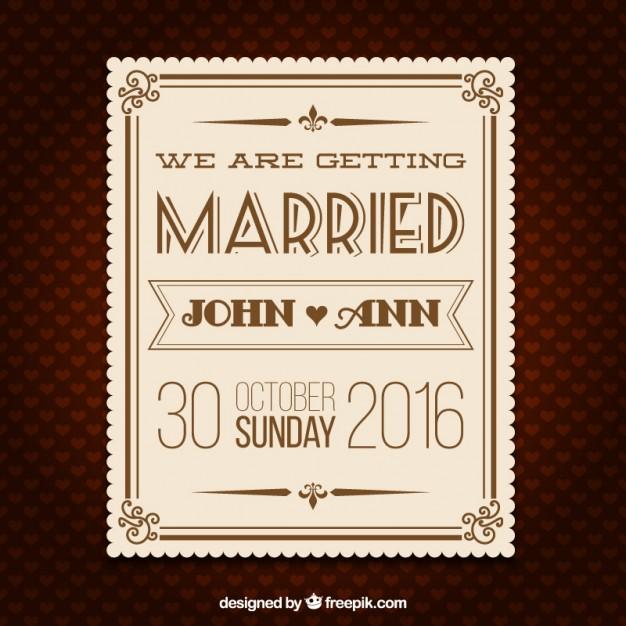 Tarjeta de invitación de boda retro