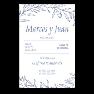 miniatura invitación de boda simple